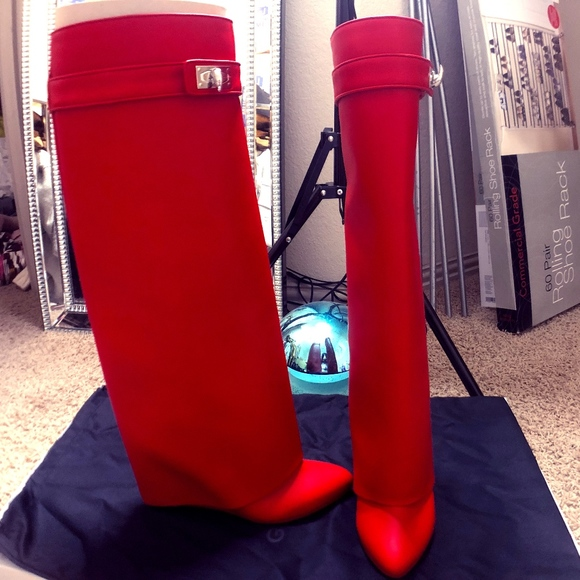Red Givenchy Shark Lock Boots